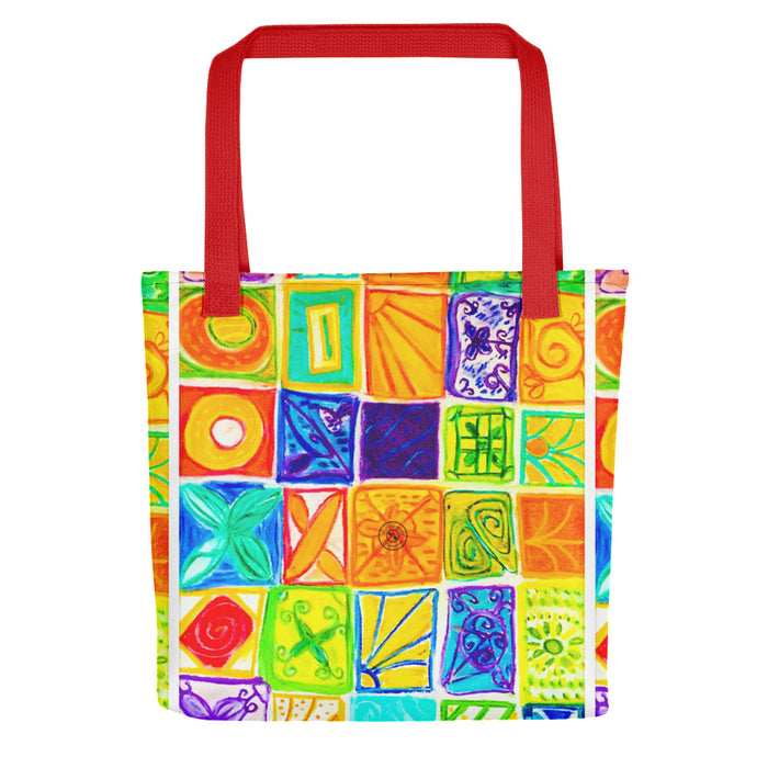 Barcelona beach bags , with mediterranean patchwork style  , designed by eldragonfly barcelona