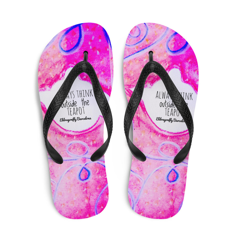 Barcelona beachstyle Flip-Flops : Always think outside the teapot: Pink