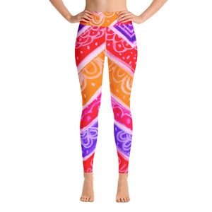 Anna Collection -High waist leggings, with red, orange, pink , purple and white .-MADE TO ORDER - Eldragonfly Barcelona