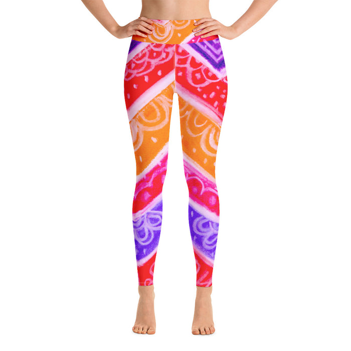 Anna Collection -High waist leggings, with red, orange, pink , purple and white .-MADE TO ORDER