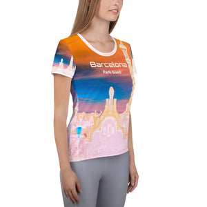 Barcelona beachstyle Womens  T shirt  :Park Güell Collection - design 4 - Eldragonfly Barcelona