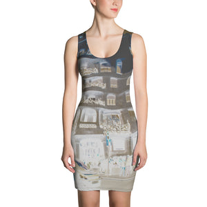 La Pedrera Collection : Short , slim fit, beach style printed grey dress . MADE TO ORDER