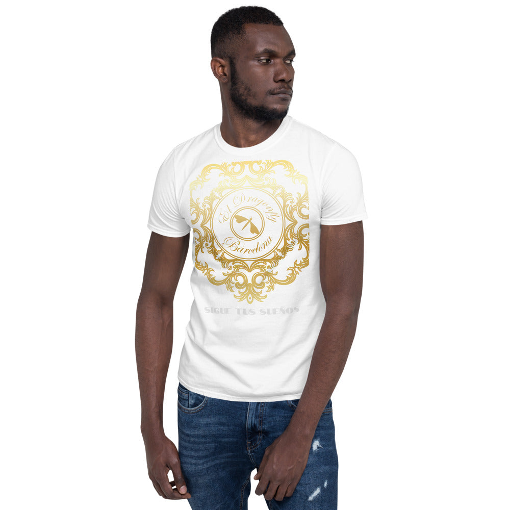 "Eldragonfly Baroque Collection: Mens slimfit T shirt with designer print and positive words "" Sigue tus Sueños "" ( Spanish for ""Follow your dreams"") MADE TO ORDER"