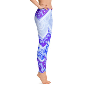 Anna Collection - Low waist leggings, blue floral, tribal designs  -MADE TO ORDER - Eldragonfly Barcelona