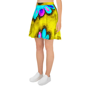 Clara Rosa Collection: Barcelona surf fashion style blue and yellow skirt. MADE TO ORDER - Eldragonfly Barcelona