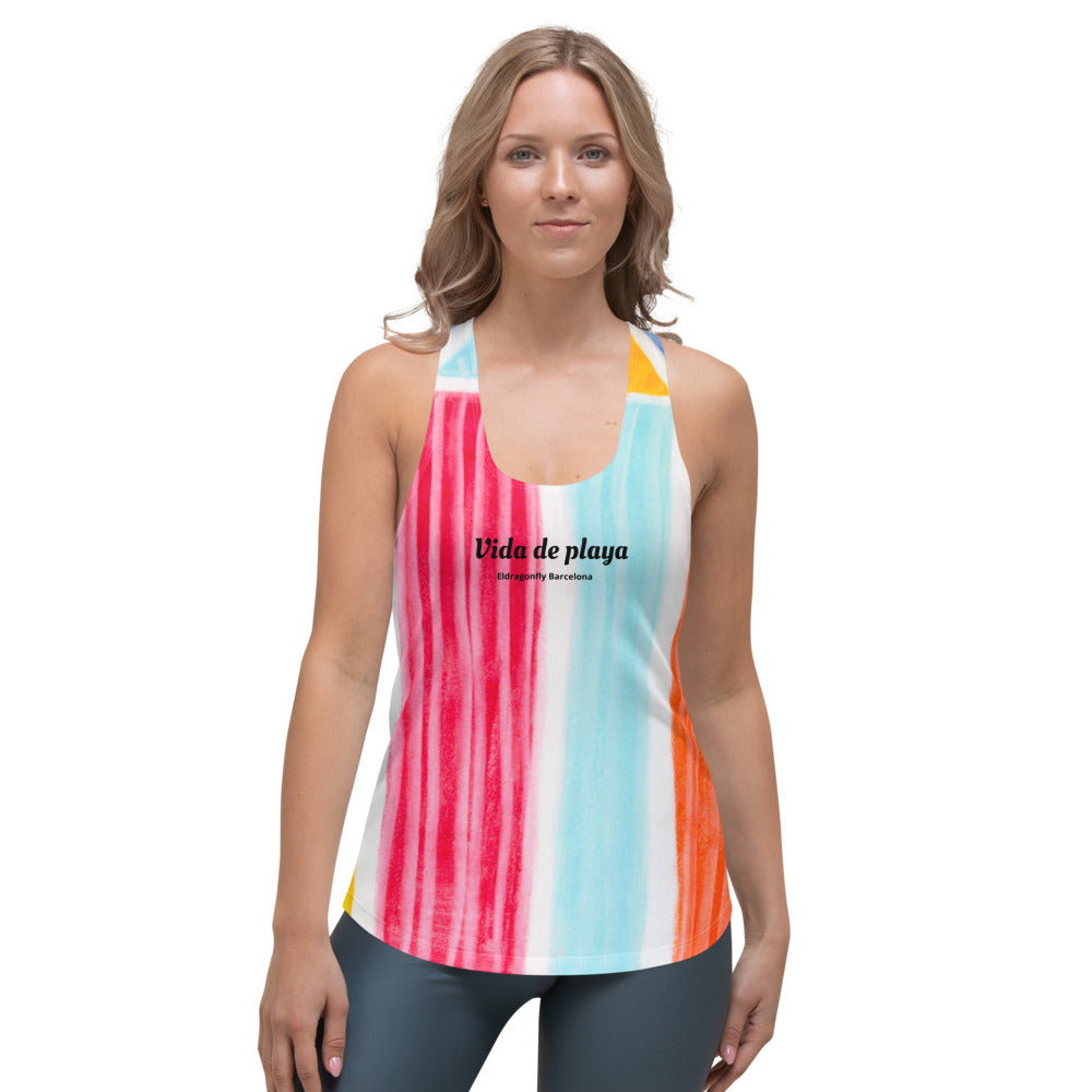 "Señorita Martina Elena Collection: Womens beach fashion tank top ""vida de playa"" MADE TO ORDER"