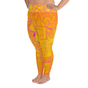 Barcelona beachstyle , all over print Plus Size Leggings, : Señora Costa Collection- Yellow - Eldragonfly Barcelona