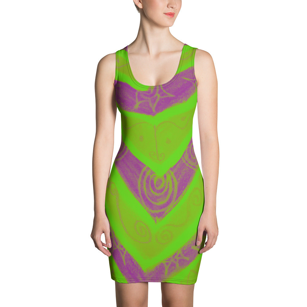 San Valeria Collection: Green beachstyle tribal dress. MADE TO ORDER
