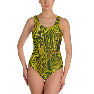 Señora Perla Collection :Barcelona beachstyle, womens black and mustard yellow, one piece swim suit. MADE TO ORDER - Eldragonfly Barcelona