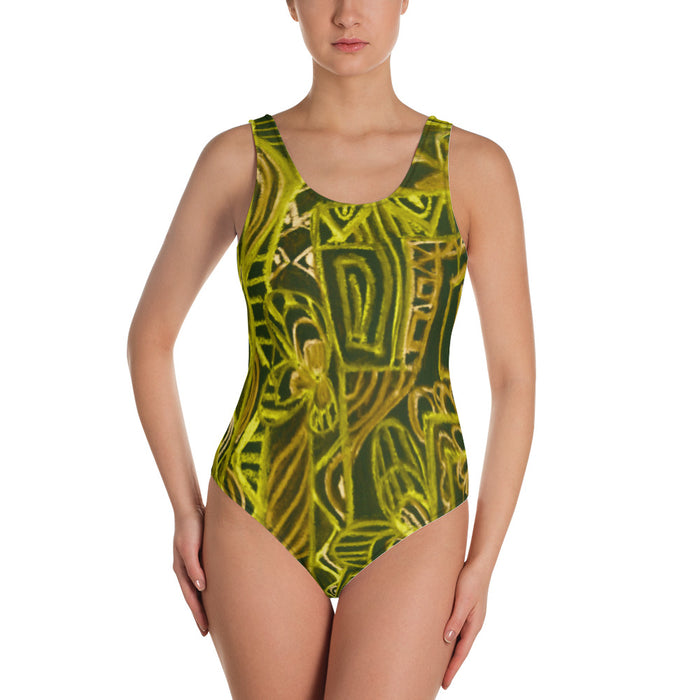 Barcelona beachstyle, Womens , one piece swim suit : Señora Perla Collection -yellow and black