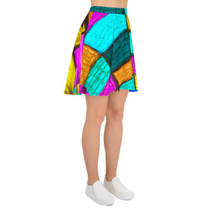 Señora  Ferrer Collection : Womens short skirt, with a colourful art print. MADE TO ORDER - Eldragonfly Barcelona