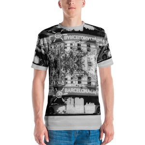 Barcelona City Collection : Mens slimfit  T - Shirt, with a travel, and city theme design. MADE TO ORDER