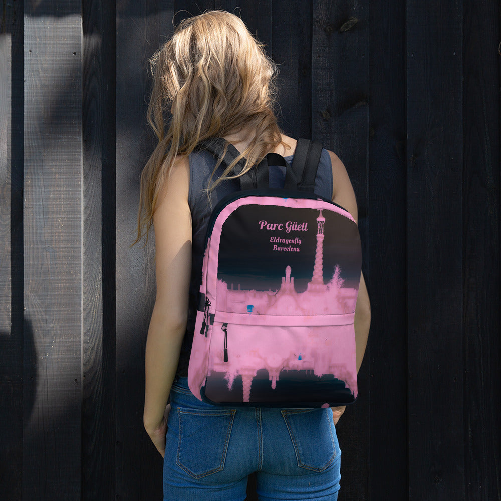 Parc Güell Collection: Barcelona festival style pink and black  backpack