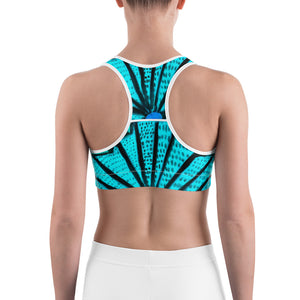 Señora Liliana Collection: Yoga , Sports bra, in an art deco  style ,with turquoise and black. MADE TO ORDER - Eldragonfly Barcelona