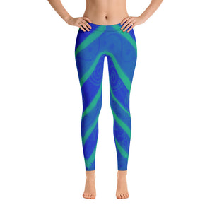 Emilia  Collection-Low waist, sporty style blue  leggings - Eldragonfly Barcelona
