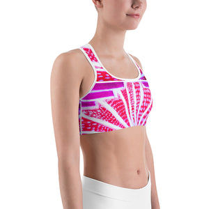 Barcelona beach , Yoga , Sports bra, with a pink , (fusia) art deco design - Eldragonfly Barcelona