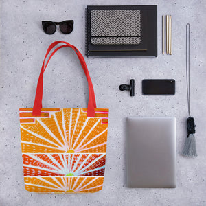 Barcelona beach bag with an art deco style with orange and red - Eldragonfly Barcelona