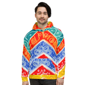 Mediteranean Tribal  Collection: Barcelona beachstyle Unisex Hoodie  eldragonfly