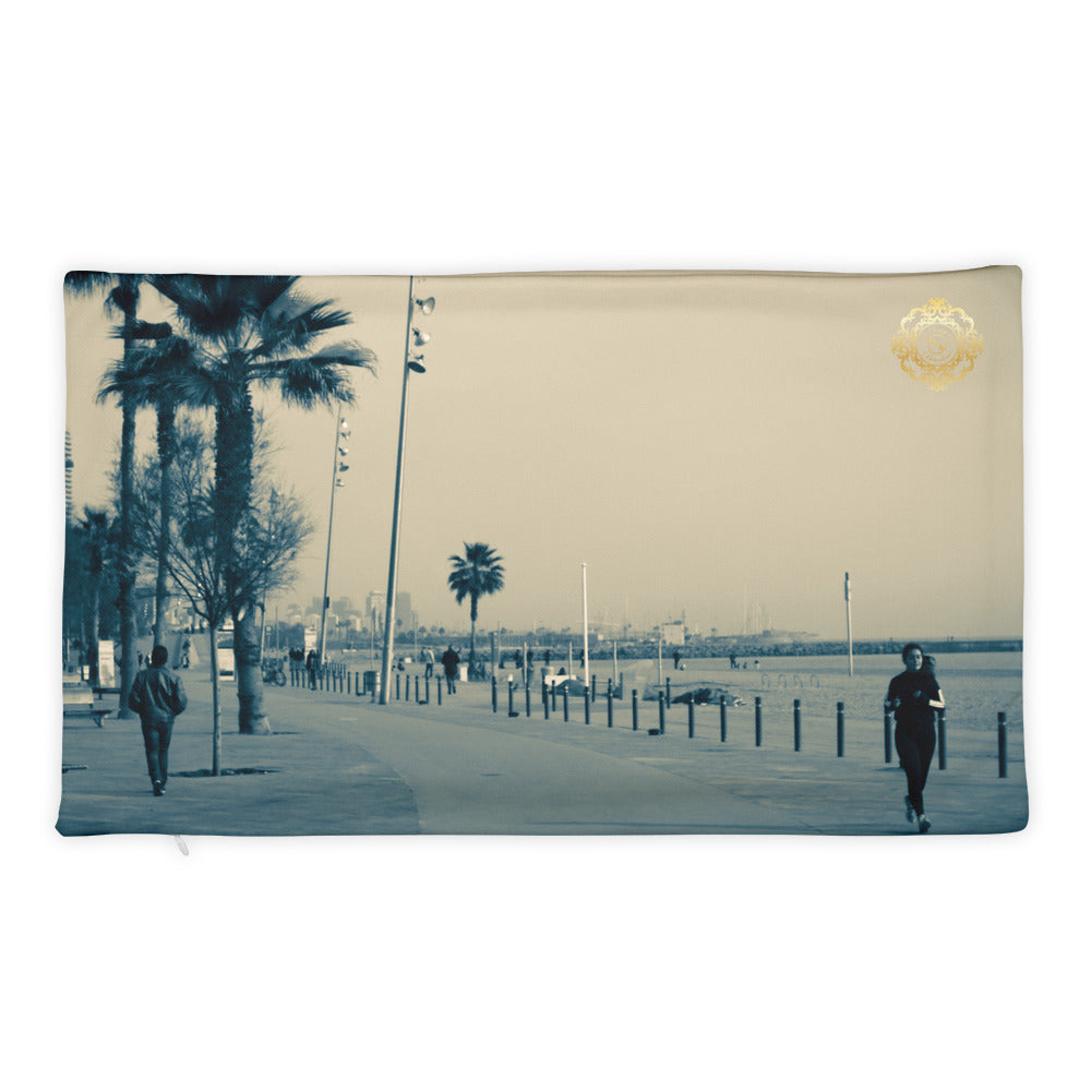 Barceloneta beach Pillow Case - Eldragonfly Barcelona