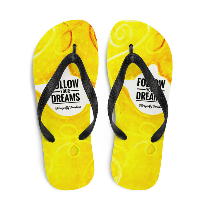 Follow your dreams Collection: Barcelona, surf and  beachstyle, yellow flip flops. MADE TO ORDER
