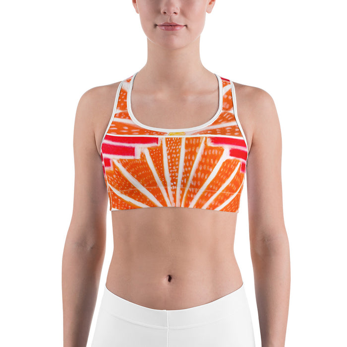 Señora Liliana Collection: Yoga , Sports bra, in an art deco  style ,with orange and red . MADE TO ORDER