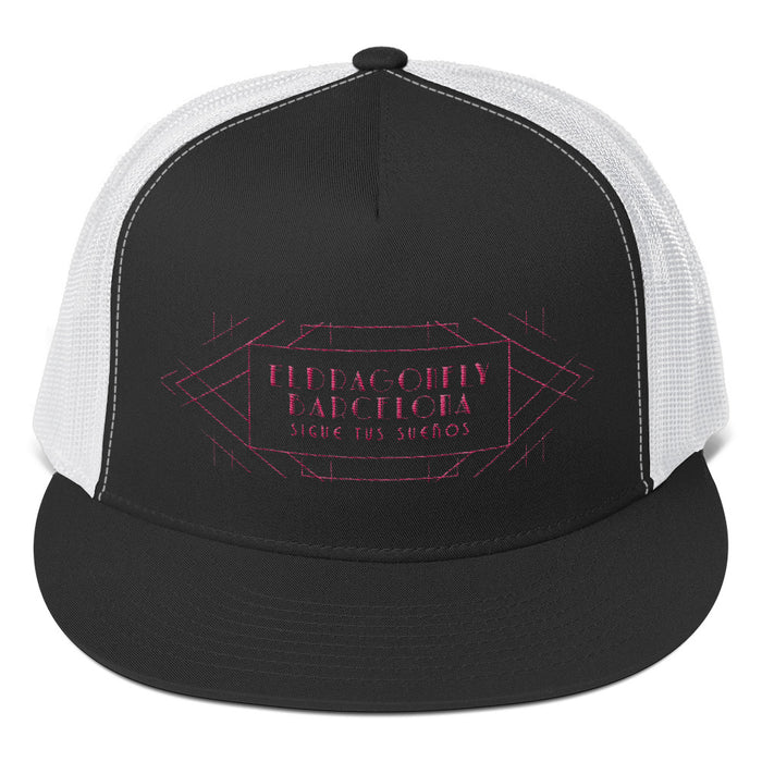 Barcelon beach style, Unisex trucker hat : Señor Luciano Collection (pink print)