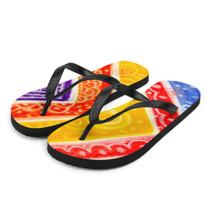 Ava Collection : Barcelona beach and surf style,  multicoloured  flipflops  . MADE TO ORDER - Eldragonfly Barcelona