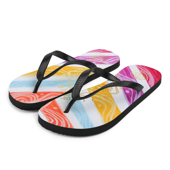 Julia del a Mar Collection: Four Colour tribal patterned design flip flops. (numero 7) MADE TO ORDER