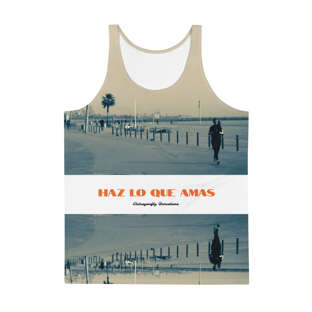 "Barcelona Collection: Unisex Tank Top ""Haz lo que amas"" . MADE TO ORDER"