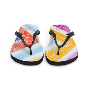 Julia del a Mar  Collection: Four Colour tribal patterned design flip flops. (numero 4) MADE TO ORDER - Eldragonfly Barcelona