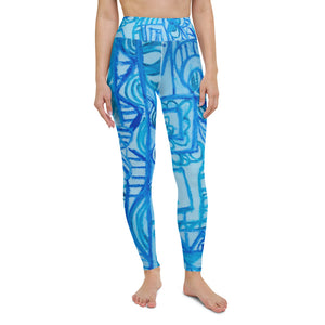 Señora Costa Collection: High waist graffiti fashion style leggings, in blue . MADE TO ORDER