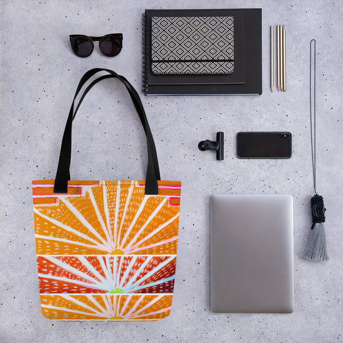 Barcelona beach bag with an art deco style with orange and red