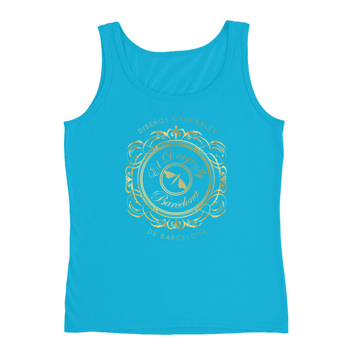 Barcelona beach style , womens tank  top , with an Eldragonfly baroque  logo print : Rafela Collection
