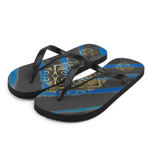 Fabiana collection: Unisex flip flops with a Mediteranean blue and black colors. MADE TO ORDER