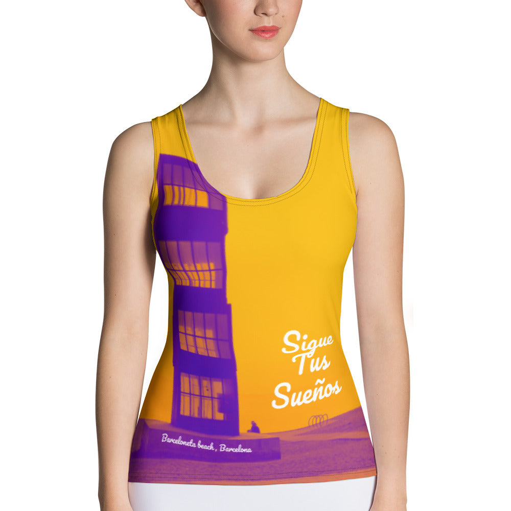Barcelona beach print , Women´s vest top: Barceloneta beach Collection-yellow - Eldragonfly Barcelona
