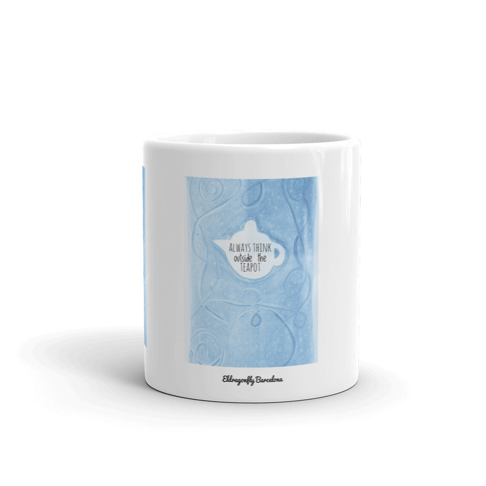 """Think outside the teapot "" Mug, in blue - Eldragonfly Barcelona"