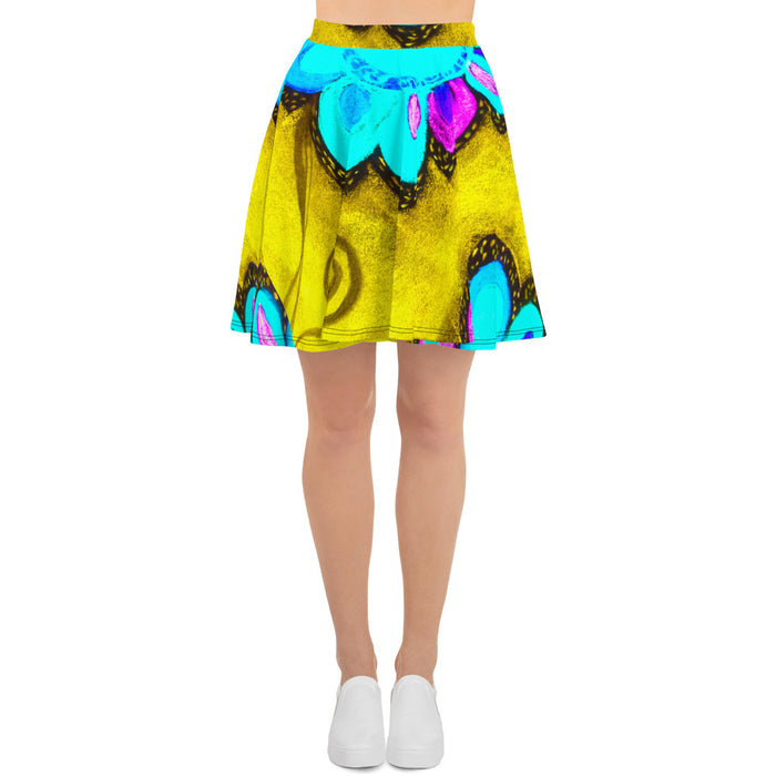 Clara Rosa Collection: Barcelona surf fashion style blue and yellow skirt. MADE TO ORDER