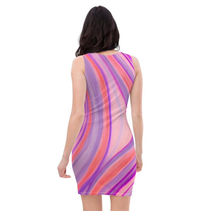 Martina Carla Collection: Short Beachstyle dress, with purple and pink curved pattern. MADE TO ORDER