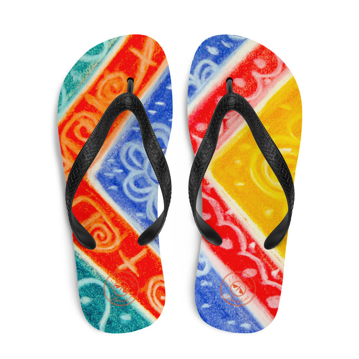Ava Collection : Barcelona beach and surf style flipflops with a rainbow tribal design . MADE TO
