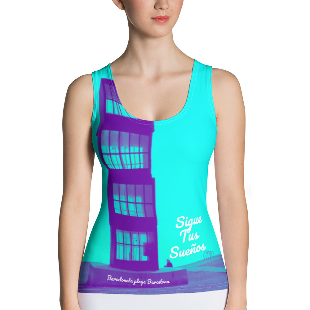 Barcelona beach print ,Women´s vest top : Barceloneta beach Collection-blue - Eldragonfly Barcelona