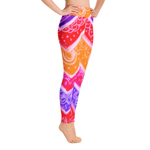 Barcelona beach style , womens yoga Leggings   :Anna Collection - Pink - multicolored - Eldragonfly Barcelona