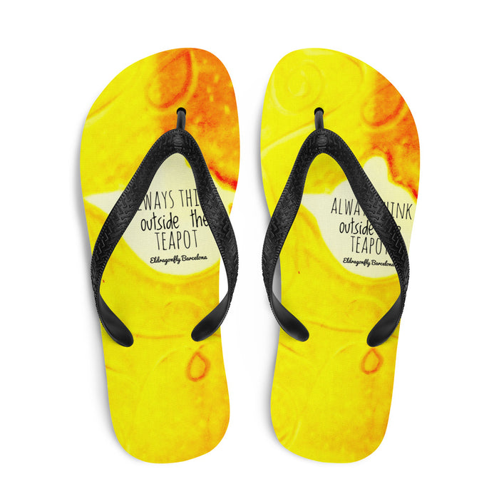 "Happy flip flop Collection :Barcelona beachstyle yellow flip flops ""Always think outside the teapot"" MADE TO ORD"