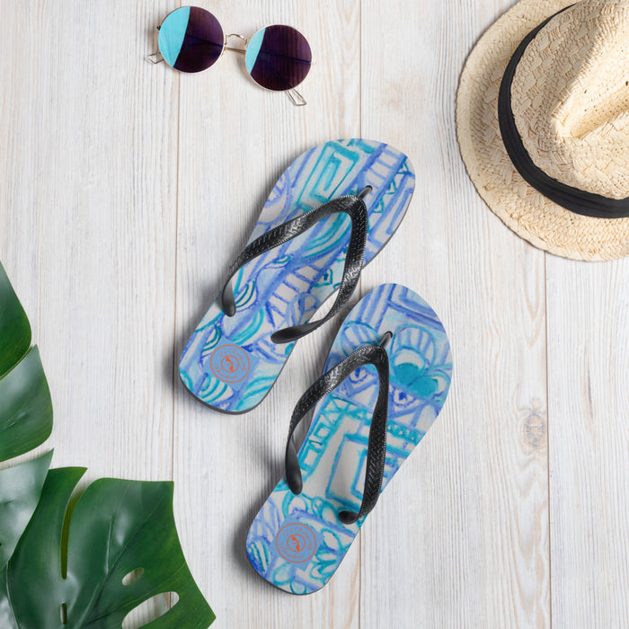 Street Art Collection: Barcelona boho style, blue and white flip flops. MADE TO ORDER