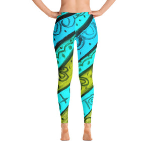 Barcelona beachstyle leggings , perfect for sports, and beach life : Anna Collection - blue and dark yellow color - Eldragonfly Barcelona