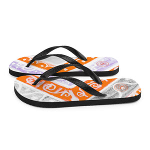 Ava Collection : Barcelona beach and surf style flipflops with grey and orange . MADE TO ORDER - Eldragonfly Barcelona