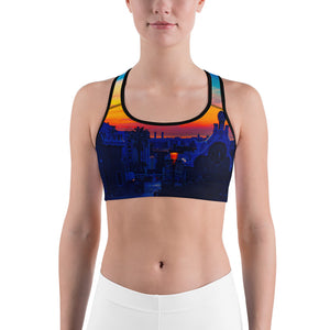 Parc Güell Collection : Womens sports bra , blue , light blue , and yellow. MADE TO ORDER - Eldragonfly Barcelona
