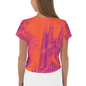 Sagrada Familia , Womens all-over print crop Top, exclusively designed by Eldragonfly - Eldragonfly Barcelona
