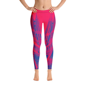 Barcelona beach style leggings , perfect for sports, and beach life . Sagrada Familia Collection-Pink - Eldragonfly Barcelona