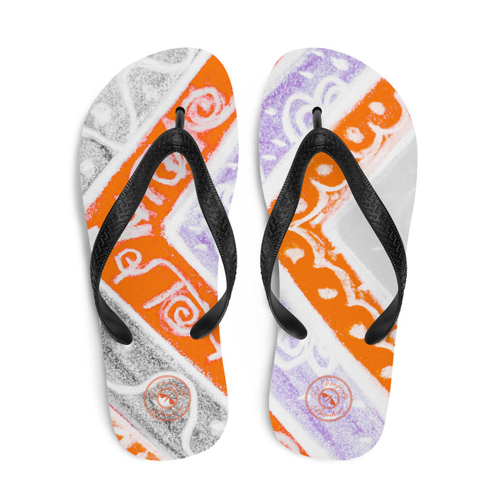 Ava Collection : Barcelona beach and surf style flipflops with grey and orange . MADE TO ORDER
