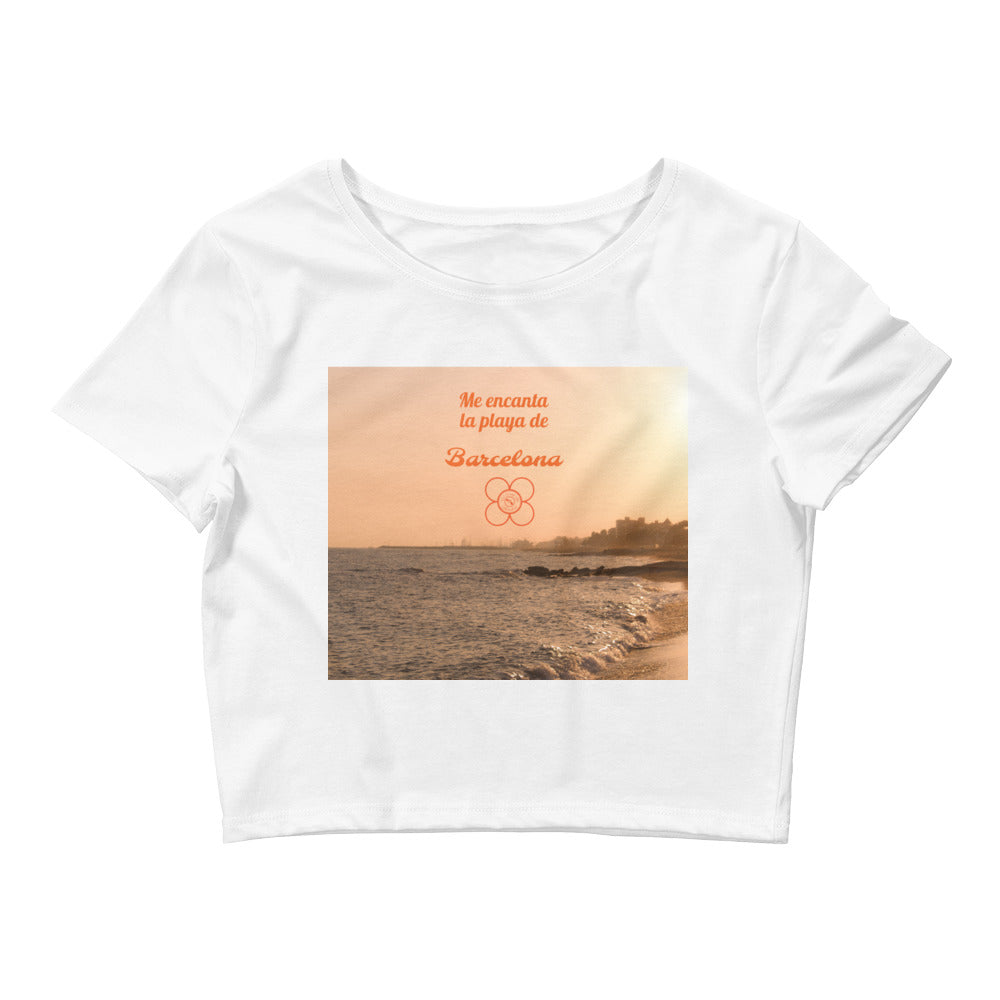 Barcelona beachstyle, Womens  Crop Top , exclusive design print from Eldragonfly :Barcelon beach Collection - design 6 - Eldragonfly Barcelona